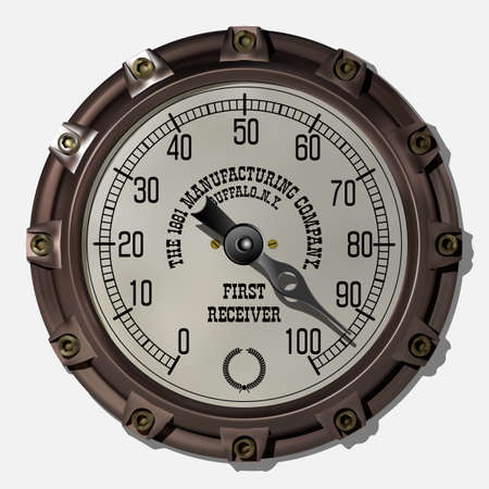 Ancient measuring device in the style of steampunk vector 写真素材 - 123962424