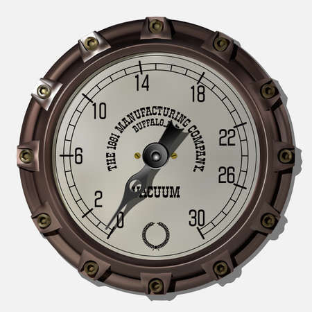 Ancient measuring device in the style of steampunk vector Archivio Fotografico - 123962425