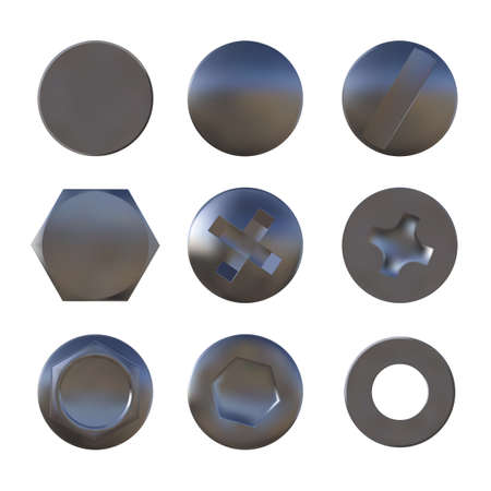 A set of metal sliver screws and bolt caps vector 矢量图像