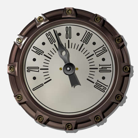 Ancient measuring device in the style of steampunk vector Archivio Fotografico - 123962428