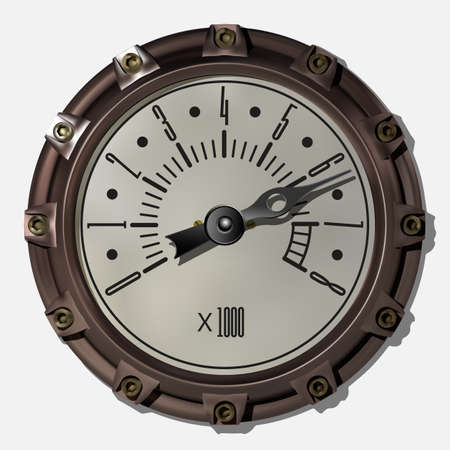 Ancient measuring device in the style of steampunk vector Archivio Fotografico - 123962429