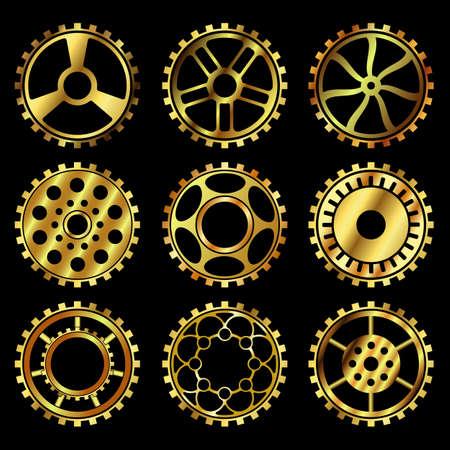 Ingranaggi dorati vettoriali impostati nello stile del vettore steampunk
