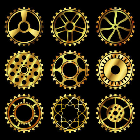 Vector golden gears set in the style of steampunk vector