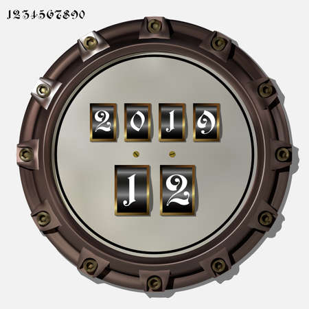 Ancient measuring device in the style of steampunk vector Archivio Fotografico - 123962432