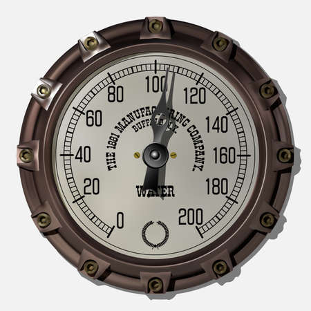 Ancient measuring device in the style of steampunk vector Archivio Fotografico - 123962433