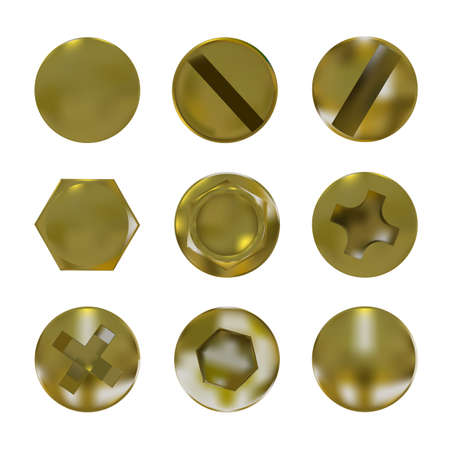 A set of metal golden screws and bolt caps vector Illustration
