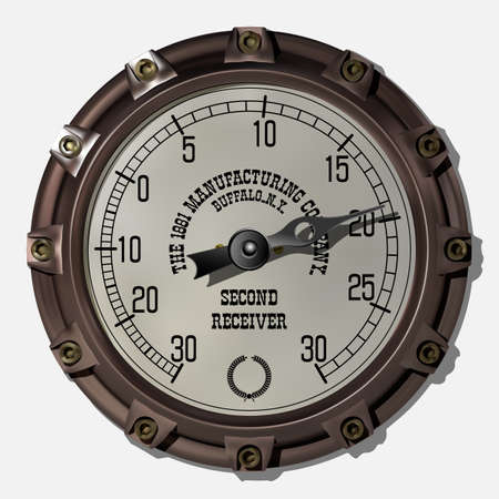 Ancient measuring device in the style of steampunk vector Imagens - 123962434