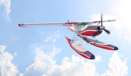 Retro seaplane illustration. 3D render. Against the sky Archivio Fotografico - 120843445