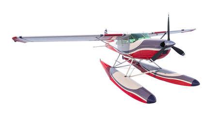 Retro seaplane illustration. 3D render. Isolated on white background Archivio Fotografico - 120843451