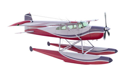 Retro seaplane illustration. 3D render. Isolated on white background. Propeller is rotating and blurred Archivio Fotografico - 120843452