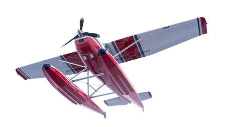 Retro seaplane illustration. 3D render. Isolated on white background Archivio Fotografico - 120843453