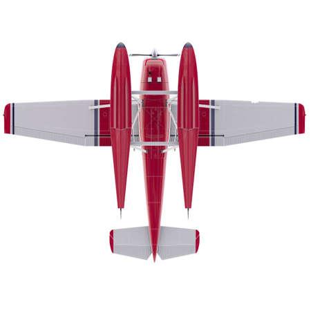 Retro seaplane illustration. 3D render. Isolated on white background Archivio Fotografico - 120843454