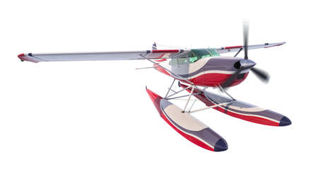 Retro seaplane illustration. 3D render. Isolated on white background. Propeller is rotating and blurred Archivio Fotografico - 120843455