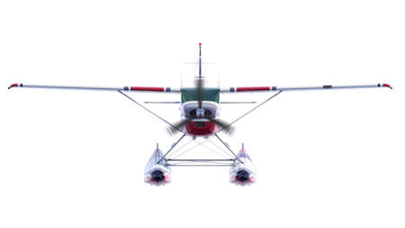 Retro seaplane illustration. 3D render. Isolated on white background. Propeller is rotating and blurred Archivio Fotografico - 120843458