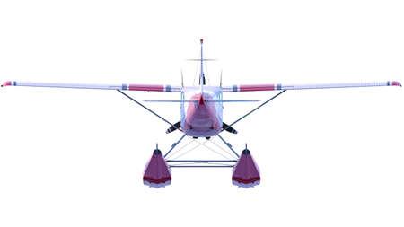 Retro seaplane illustration. 3D render. Isolated on white background Archivio Fotografico - 120843459