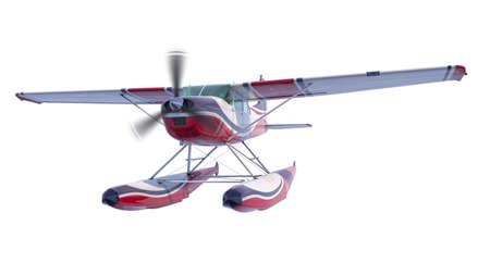 Retro seaplane illustration. 3D render. Isolated on white background. Propeller is rotating and blurred Stock Photo