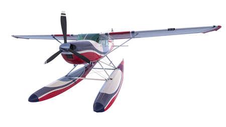 Retro seaplane illustration. 3D render. Isolated on white background Archivio Fotografico - 120843461