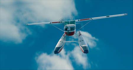 Retro seaplane illustration. 3D render. Against the sky