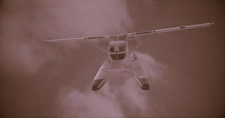 Retro seaplane illustration. 3D render. Against the sky. Superimposed retro photo filter with noise Stock Photo