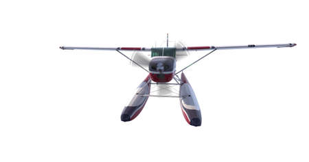 Retro seaplane illustration. 3D render. Isolated on white background Stock Photo
