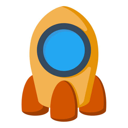 Cartoon rocket space ship isolated vector illustration.