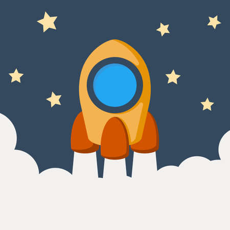 Cartoon rocket space ship take off vector illustration.