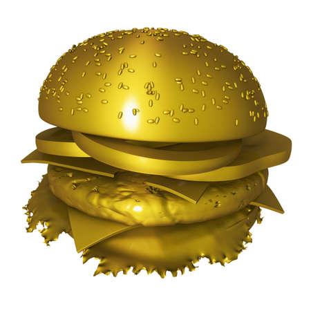 Golden hamburger isolated on white background. 3D render