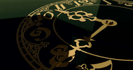 Antique clock dial close-up. Stock Photo