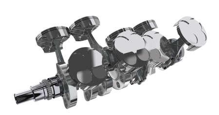 V 8 engine. 3D render