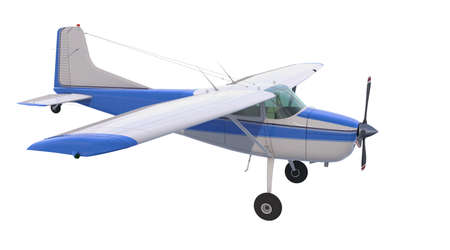 Light aircraft isolated on white background. Bush plane. 3D rendering. Propeller driven single engine aircraft for transporting people and cargo to hard to reach places.