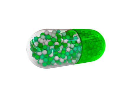 Green tablet isolated on white background. Medical illustration. 3D render