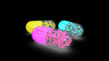 Neon tablets on dark background. Medical illustration. 3D render