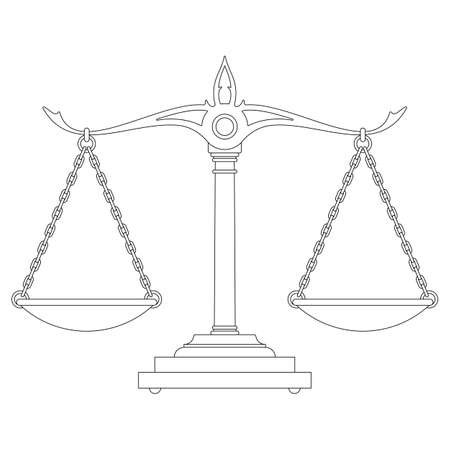 Scales of justice silhouette vector illustration isolated