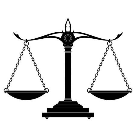 Ilustración de vector de silueta de balanza de justicia aislado
