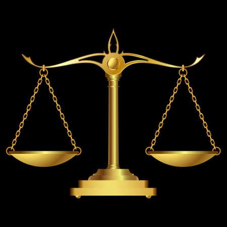Escalas de oro justicia sobre fondo negro. ilustración vectorial