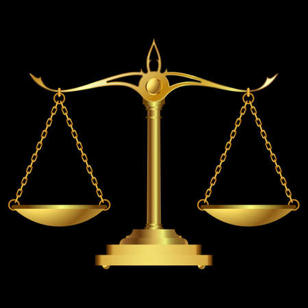 Gold scales justice on black background. vector illustration