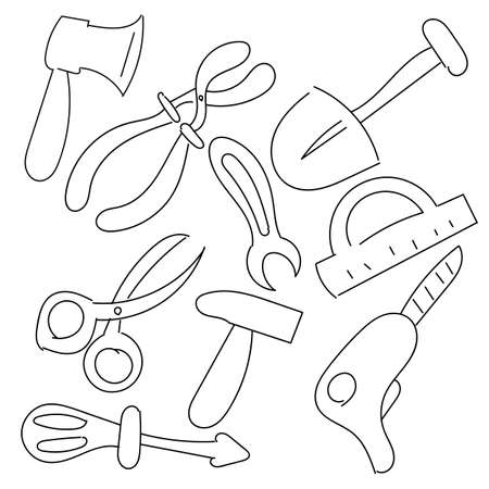 Tool Set Hand Draw Vector Icon Isolated