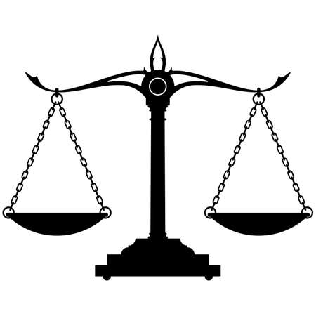 Scales of justice silhouette  isolated