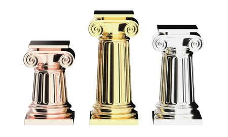 Greek columns golden isolated on white 3D render