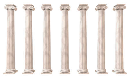 Greek columns isolated on white 3D render