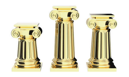 Greek columns golden isolated on white 3D render