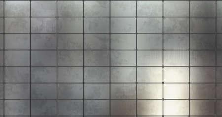 Metal background wall. 3D render metal panel