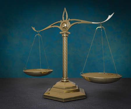 Gold scales of justice. 3D render illustration