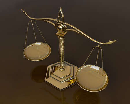 Gold scales of justice. 3D render illustration