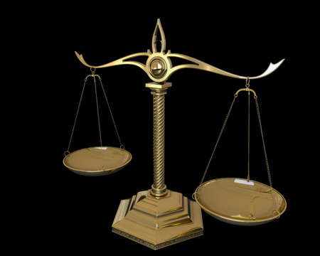 Gold scales of justice isolated on black background. 3D render