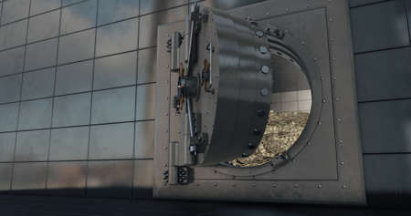 Bank vault doors open and piles of dollars are poured out. 3D render Фото со стока