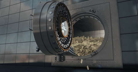 Bank vault doors open and piles of dollars are poured out. 3D render Standard-Bild