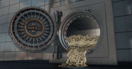 Bank vault doors open and piles of dollars are poured out. 3D render Stock Photo