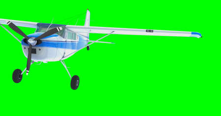 Retro bush plane. 3D render. Isolated on green background. Stock Photo