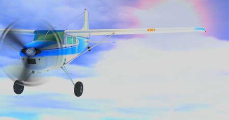 Retro bush plane. 3D render. Against the sky